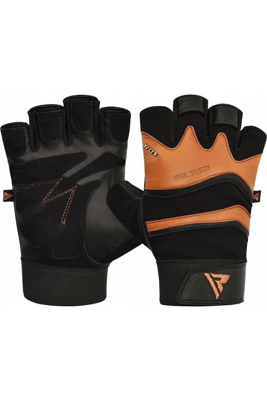 RDX Training Weight Lifting Gym Leather S15 TAN Handschuhe